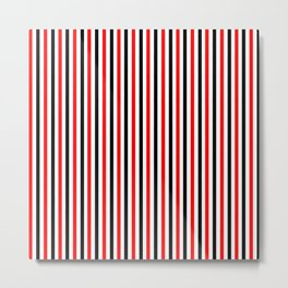 Black And Red Stripes Design Metal Print