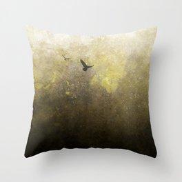 Golden Space Flight Throw Pillow