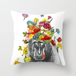Gorilla in the Garden Throw Pillow