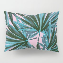 Tropical Palm Leaves in Botanical Green + Pink Pillow Sham