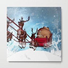 Christmas, funny skeleton Metal Print