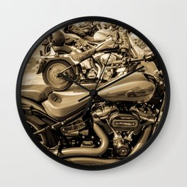 bikers day out - sepia Wall Clock