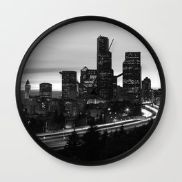 Seattle Skyline Sunset City - Black and White Wall Clock