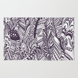 Purple white hand painted tribal bohemian feathers pattern Rug