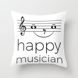 Happy musician (light colors) Throw Pillow