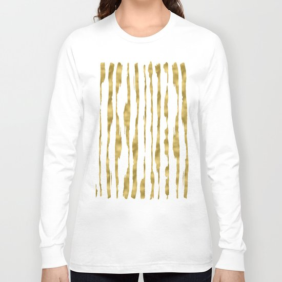 Small uneven hand painted gold stripes on clear white - vertical pattern Long Sleeve T-shirt