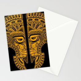 Yellow and Black Aztec Twins Mask Illusion Stationery Cards