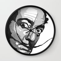 salvador dali Wall Clocks featuring Salvador Dali by Frankie Luna III