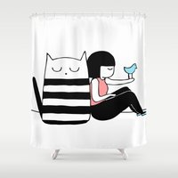 best friends Shower Curtains featuring Best Friends by Regina Rivas Bigordá