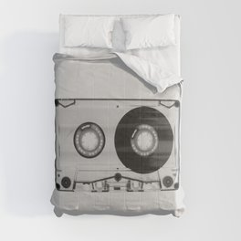 Vintage 80's Cassette - Black and White Retro Eighties Technology Art Print Wall Decor from 1980's Comforters