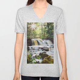 Upper Chapel Falls at Pictured Rocks National Lakeshore - Michigan Unisex V-Neck