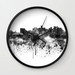 Denver skyline in black watercolor Wall Clock