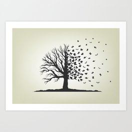 dried tree with branches and flying butterflies Art Print