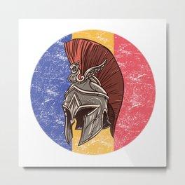 Romania Romanian Spartan  TShirt Warrior Shirt Flag Gift Idea Metal Print