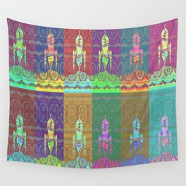 Twelve Colorful Space Rockets Wall Tapestry