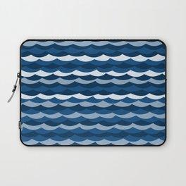 Classic Blue Wave Pattern Laptop Sleeve