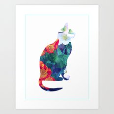 Flowered Cat Art Print