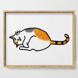 Comfy Calico Cat Serving Tray