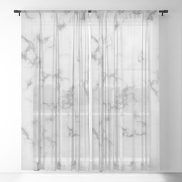 Dove Gray Marble With Soft Silver Veins Sheer Curtain