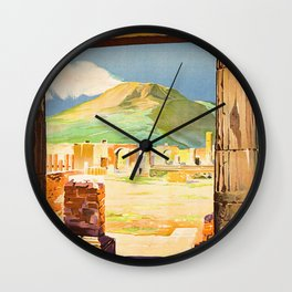 Vintage Pompei Italy Travel Wall Clock