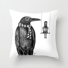 Ronald + Regina -or- The Tiny Poe Aficionados Throw Pillow