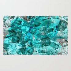 Turquoise Glass Chrystal Abstract Rug