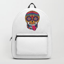 Colourful 80s-Style Sugar Skull Backpack