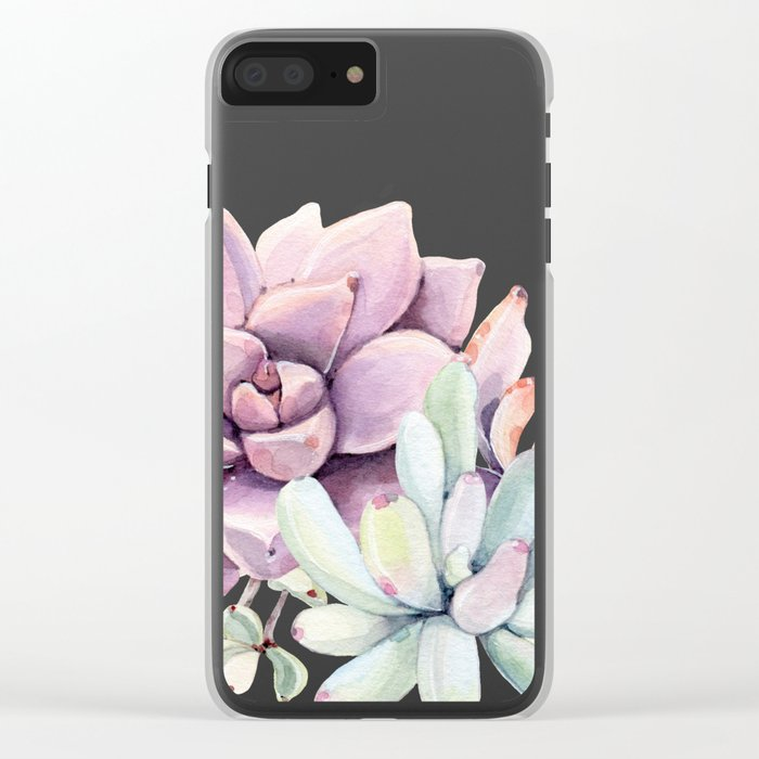 Desert Succulents on White Clear iPhone Case