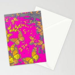 FUCHSIA PINK & GREY BUTTERFLY ABSTRACT ART Stationery Cards