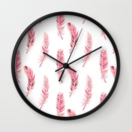 Watercolour Feathers - Coral, Blush and Rose Gold Wall Clock