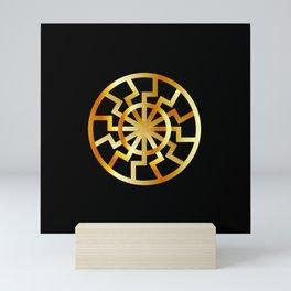 Black Sun symbol in gold- Schwarze Sonne- Occult subculture symbol Mini Art Print