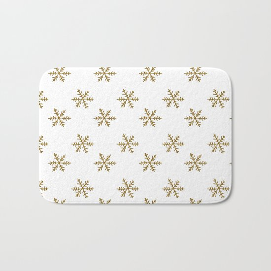 Merry christmas- Gold glitter snowflakes- Winter pattern Bath Mat