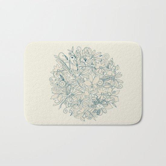 Denim flower circle Bath Mat