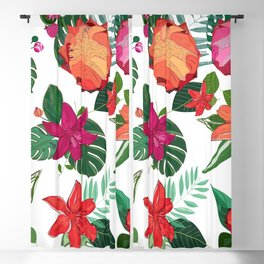 Vibrant Colored Protea, Lily and Tropical Leaves Pattern Blackout Curtain