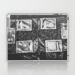 dining table with classic tablecloth in black and white Laptop & iPad Skin