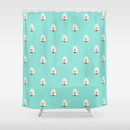 Fat bunny eating noodles pattern Shower Curtain