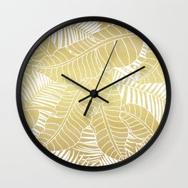 Golden tropical leaves Wall Clock