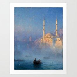Constantinople (Istanbul) Süleymaniye Mosque in Fog by Ivan Aivazovsky Art Print
