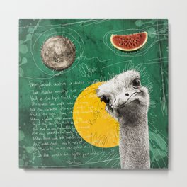 ostrich the anxious Metal Print