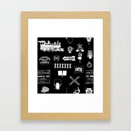 Railroad Symbols on Black Framed Art Print