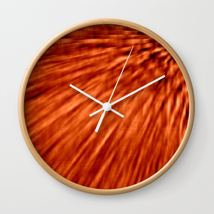 Burnt Orange Pixel Wind Wall Clock