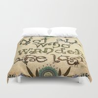 not all who wander are lost Duvet Covers featuring Not All Who Wander by Jenndalyn