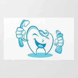 Smiling tooth with toothbrush and toothpaste Rug