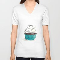 cupcake V-neck T-shirts featuring Cupcake by HurlinghamRoadStudio
