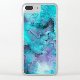 Abstract lilac teal aqua watercolor pattern Clear iPhone Case