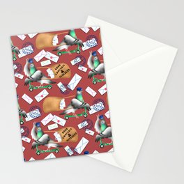 Pigeons Express (Rust Red Background) Stationery Cards