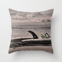 surfboard Throw Pillows featuring Surfboard 1 by Becky Dix