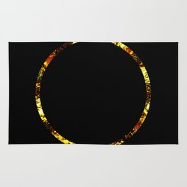Golden Ring - Minimalistic, gold and black abstract art, metallic gold texture Rug