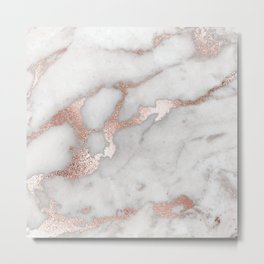 Rose Gold Marble Metal Print