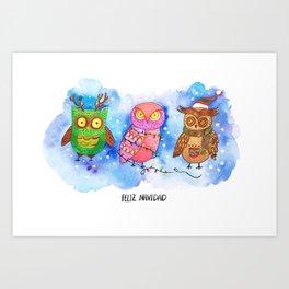 Christmas Owlies v2.0 Art Print